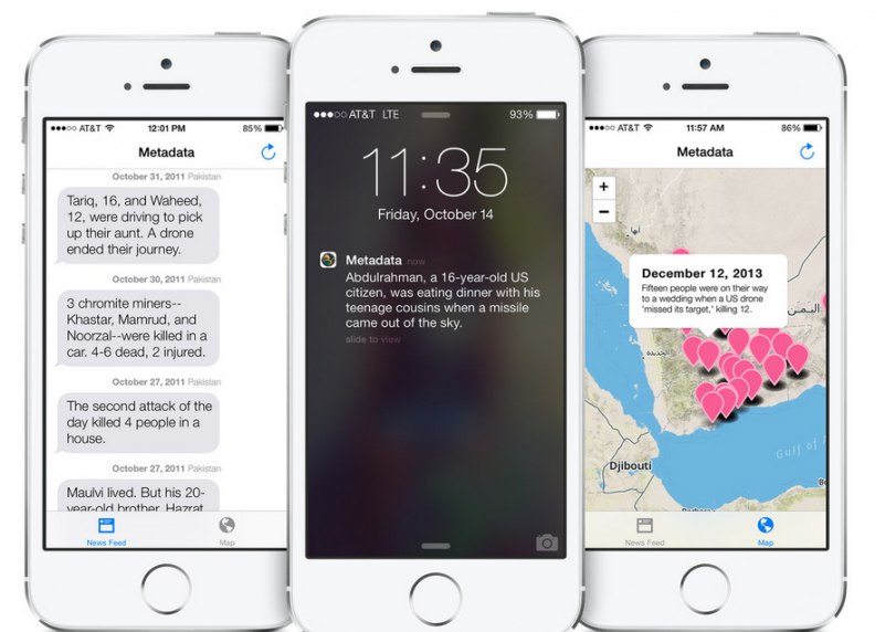 An app called Metadata+ will notify of drone strikes.